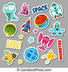 Set of stickers with space objects and monsters. Cartoon vector illustration for children