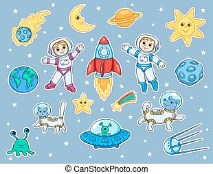 Set of stickers with space objects