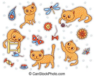 Set of stickers with the happy playing red cats
