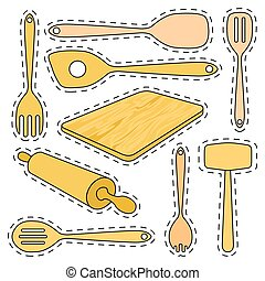 Set of stickers wooden kitchen utensils. Isolated vector illustration on white background.