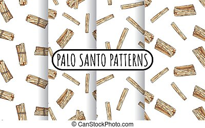 Set of sticks hand-drawn boho seamless patterns. Collection of palo santo herb bundles texture background tiles