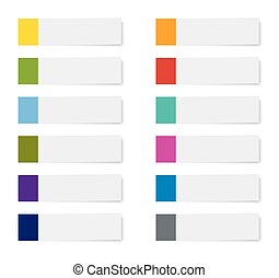 set of sticky note paper sheets isolated background.
