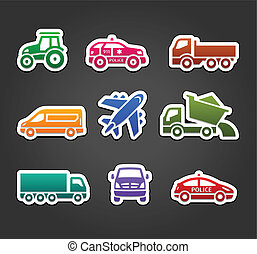 Set of sticky stickers, transport color icons