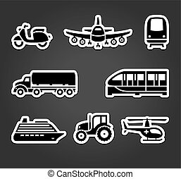 Set of sticky stickers, transport symbols