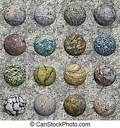 Set of stone balls on granite wall - seamless texture - A...
