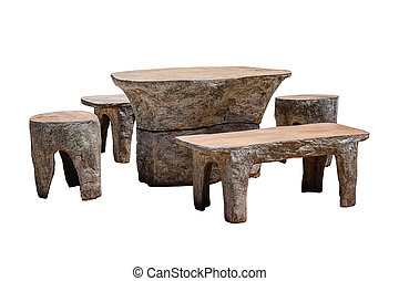 Set of stone table with bench isolated.