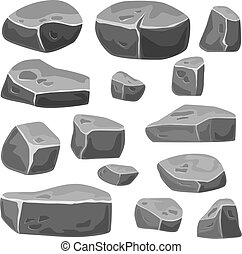 Set of stones for game art. Grey rocks