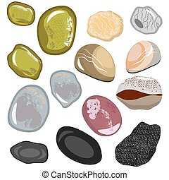 Set of stones from the sea coast. Smooth water polished colored stones. Vector, illustration in flat style isolated on white background EPS10