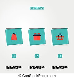Set of store icons flat style symbols with bag, basket, gift and other icons for your web mobile app logo design.