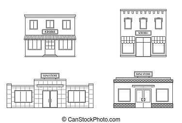 Set of store, shop, mini mall. Store fronts, flat style.