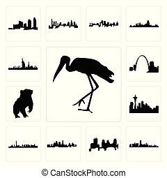 Set of stork, florida, minneapolis skyline on white background, , kansas city skyline, las vegas seattle badger, missouri, dubai icons