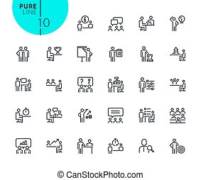 Set of strategy, planning and teamwork icons - Modern...