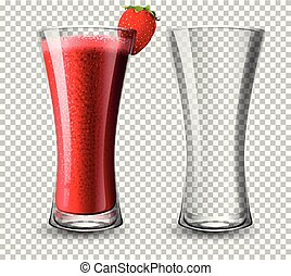 Set of strawberry cocktail glass