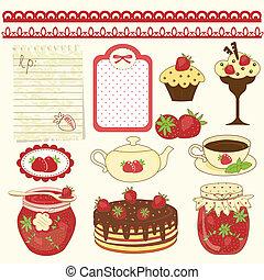 Set of strawberry design elements