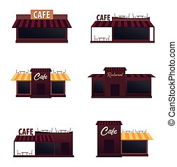 Set of street Cafe. Coffeeshop. City cafe. Flat design...