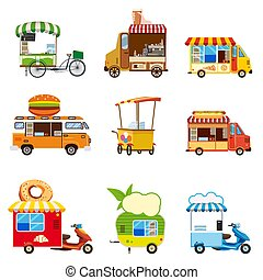 Set of street food car vehicles, buses, minivans, trucks, kiosks, pizza, BBQ, ice cream, vegan food, hot dog, baking, vector, illustration, isolated, cartoon style