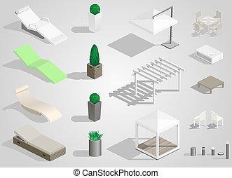 Set of street furniture
