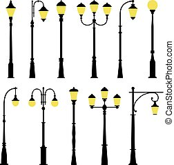 Set of street lamps, vector illustration