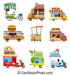 Set of street vehicles, buses, minivans, trucks, kiosks, pizza, BBQ, ice cream, vegan food, hot dog, baking, vector, illustration, isolated, cartoon style