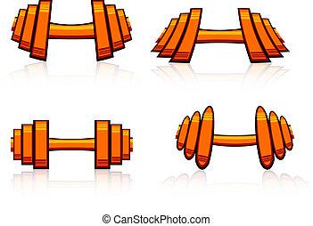 Set of strength training weights