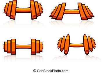 Set of strength training weights.