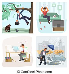 Set of bad luck and stressful situations. Male character experiences stress in everyday life. Trouble at work, dog attack, bad weather, football team lost. Flat Art Vector illustration
