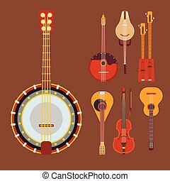 Set of stringed musical instruments classical orchestra art sound tool and acoustic symphony stringed fiddle wooden equipment vector illustration