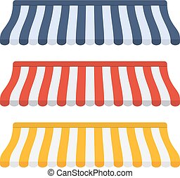 Set of striped awnings for shop