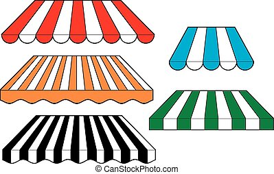 set of striped awnings