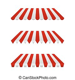 Set of Striped Awnings. Vector Illustration