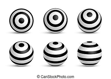 Set of stripped 3D spheres isolated on white background. Vector design elements.