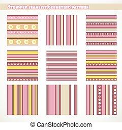 Set of stripped seamless geometric pattern in pink, yellow,...