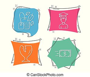 Student, Fragile package and Mint bag icons. Money transfer sign. Graduation cap, Safe shipping, Mentha tea.