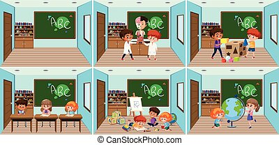 Set of student in the classroom