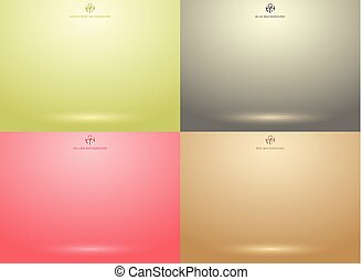 Set of studio room green, red, gray, brown background with lighting well use as Business backdrop
