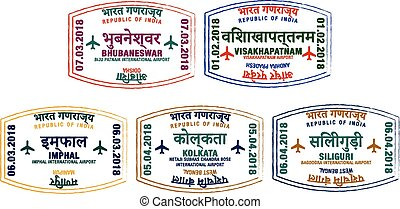 Set of stylised passport stamps for major airports of eastern India in vector format.