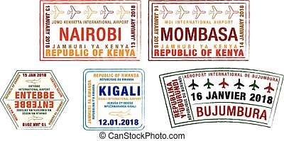 Set of stylised passport stamps for major airports of Kenya,...