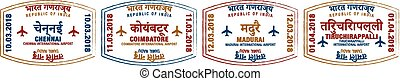 Set of stylised passport stamps for major airports of Southern India in vector format.