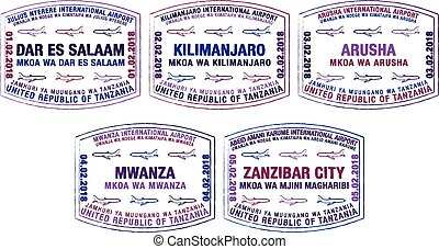 Set of stylised passport stamps for major airports of Tanzania in vector format.