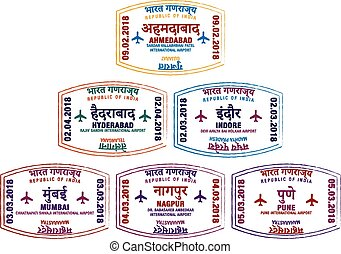 Set of stylised passport stamps for major airports of western India in vector format.