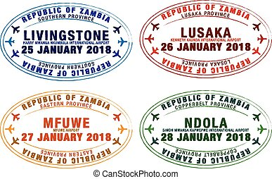 Set of stylised passport stamps for major airports of Zambia...