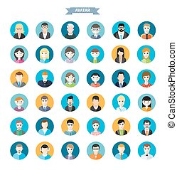 Big set of stylish avatar of male and woman icons in flat design. Woman lovelace MC rapper housewife teenager brutal man emo businessman programmer
