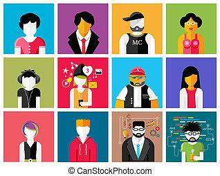 Set of stylish avatars of man and woman icons - Set of...