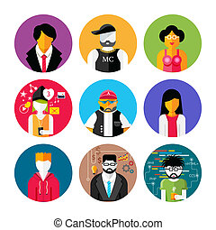 Set of stylish avatars of man and woman icons - Set of...
