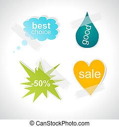 Set of stylish bubbles stickers