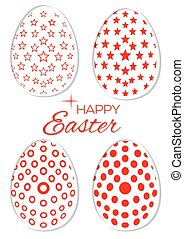 Set of stylish Easter eggs on a white background. Collection of Easter eggs with different patterns