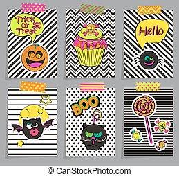Set of stylish halloween cards.