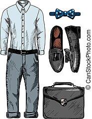 Set of stylish men's clothing