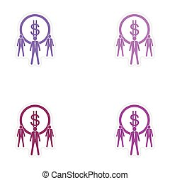 Set of stylish sticker on paper coin and businessmen