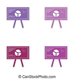 Set of stylish sticker on paper infographics at the presentation